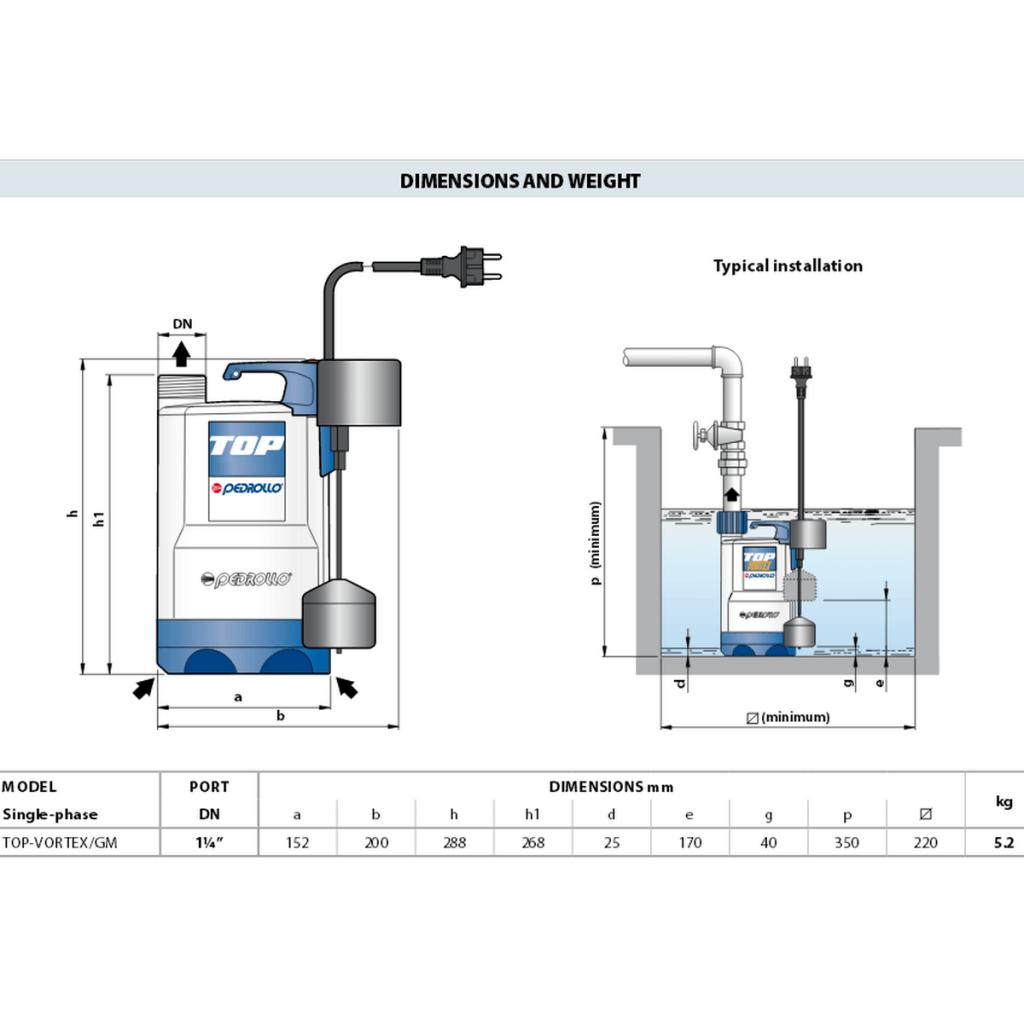 dimenzije potapajuće pumpe